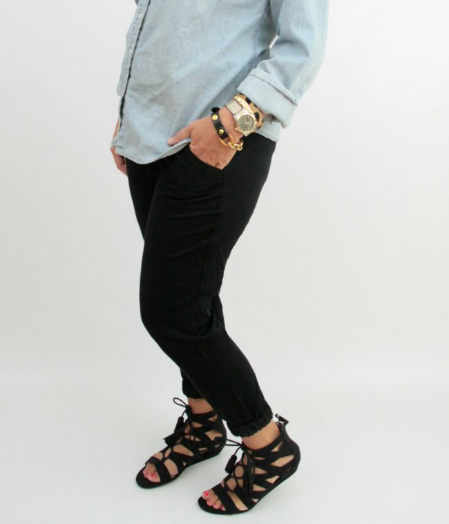 chambray and joggers 2
