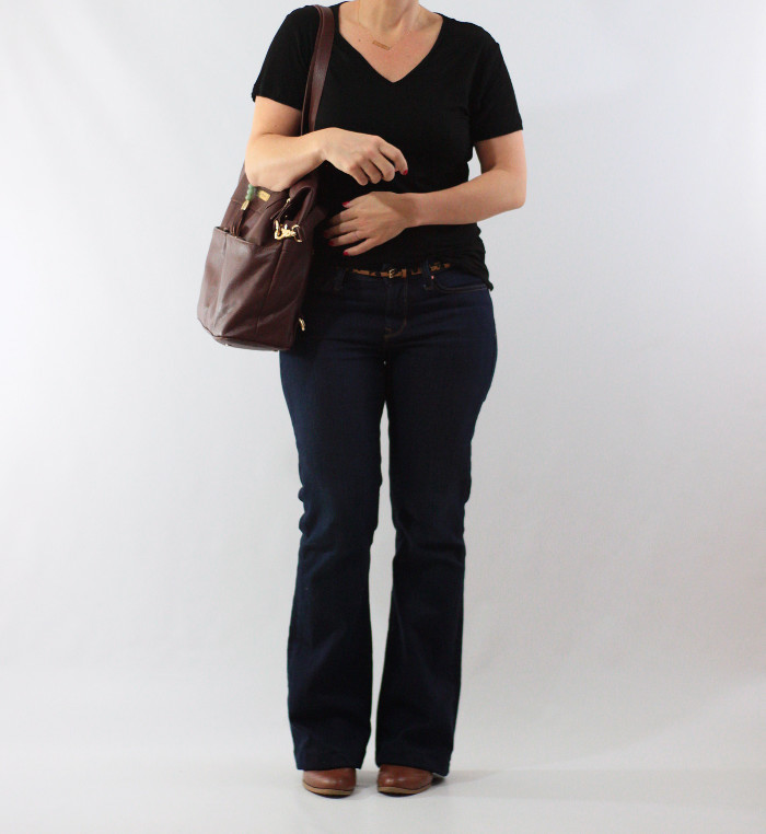 brass tee and bootcut jeans 1