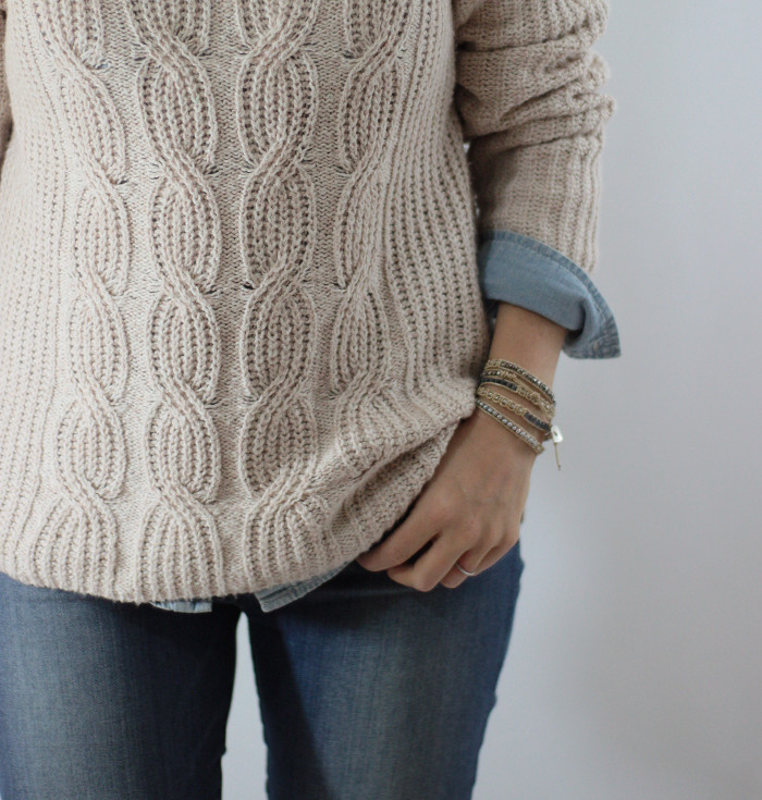 chunky knit and chambray 1