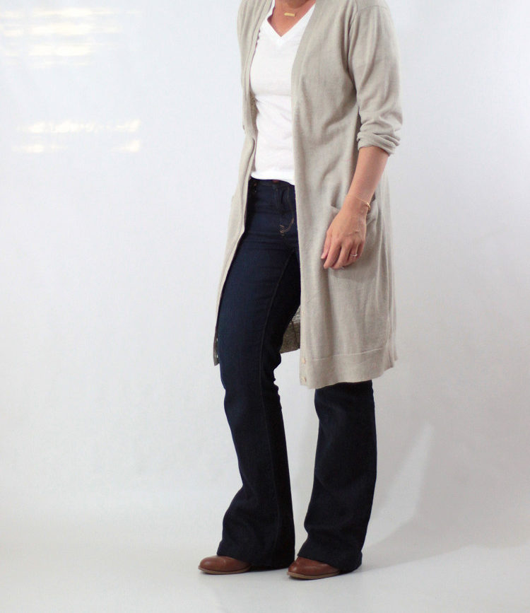 bootcut jeans and long cardigan