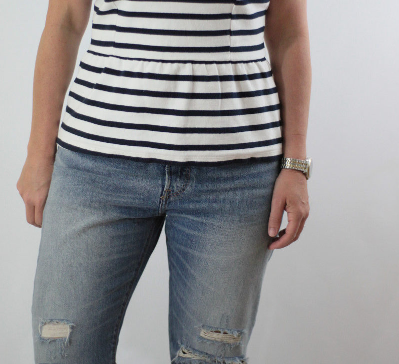 striped peplum tank top