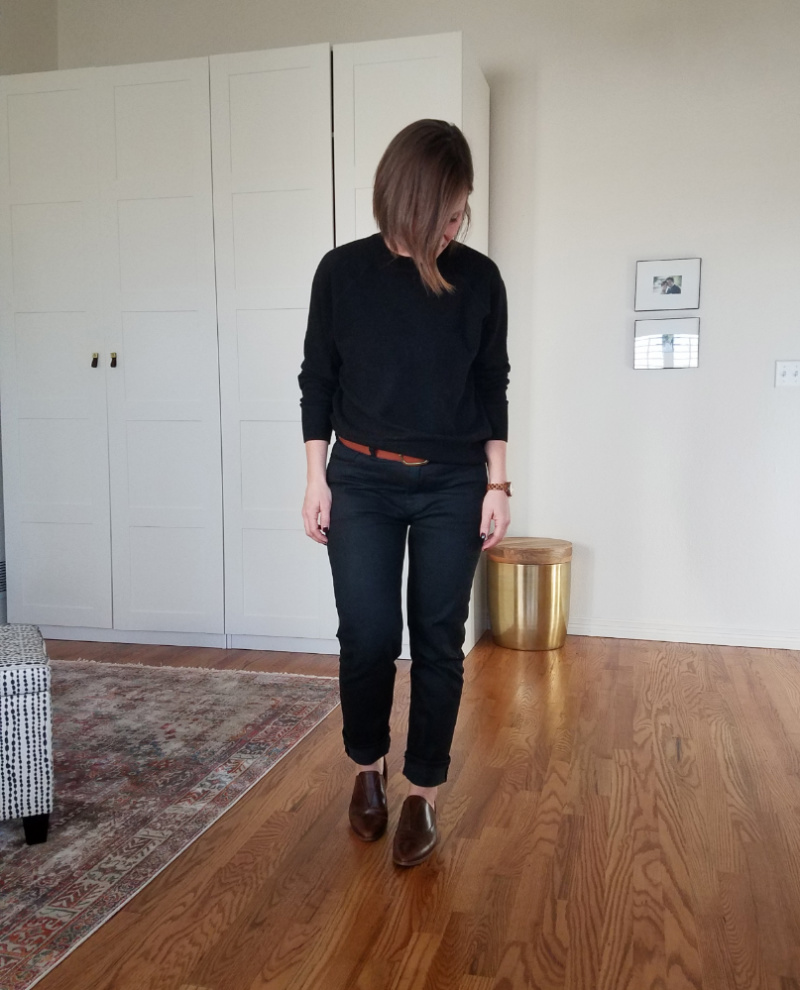 everlane denim cashmere sweater nisolo