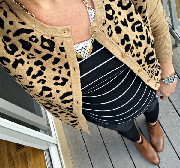 leopard cardigan and maternity striped shirt