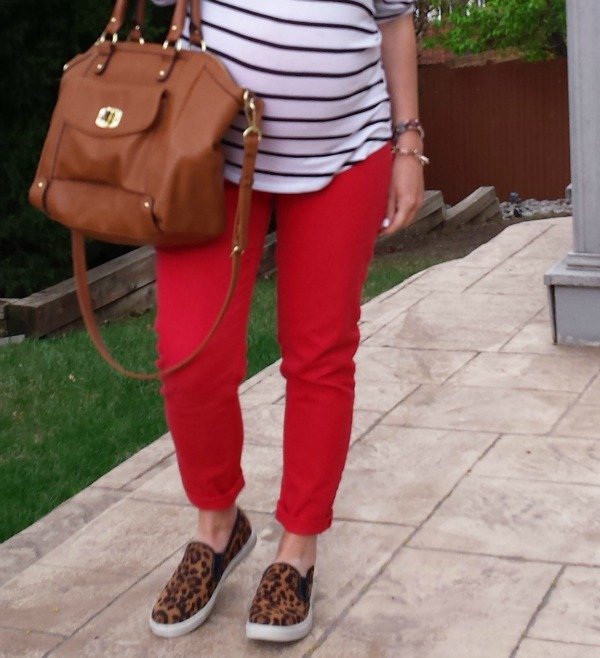 red skinnies, leopard shoes