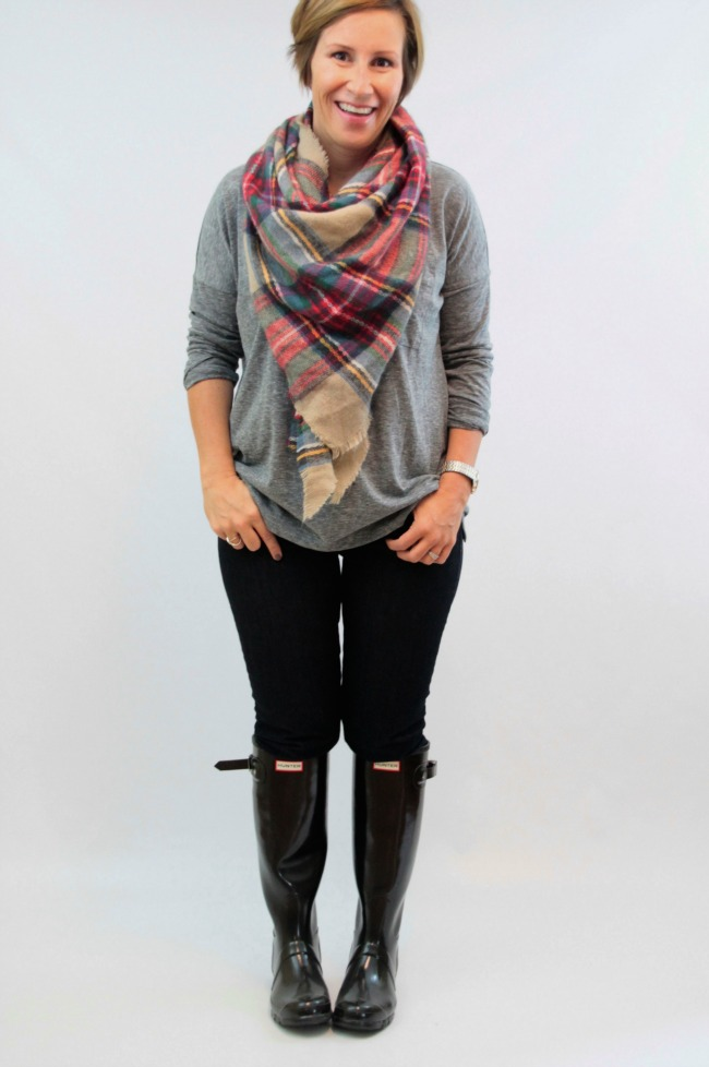 hunter boots + blanket scarf 3