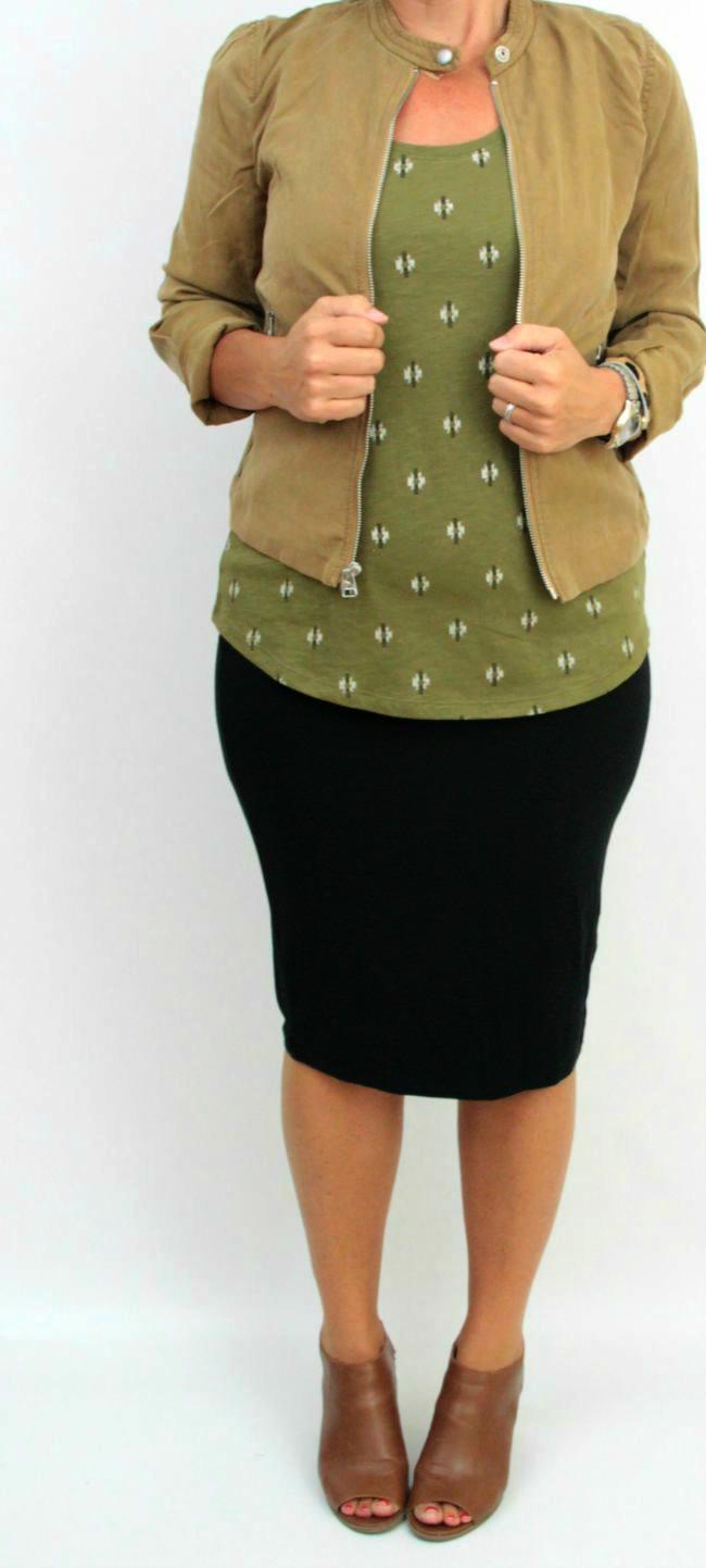 olive, camel jacket, pencil skirt 4