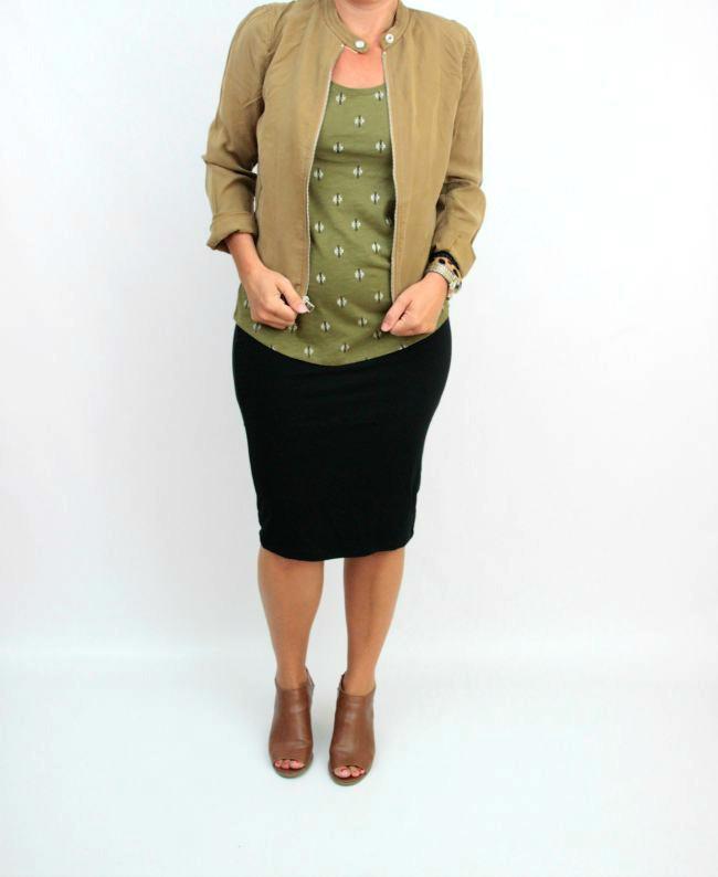 olive, camel jacket, pencil skirt