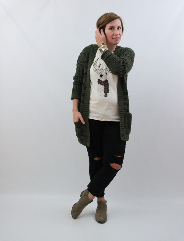 deer tee and cardigan