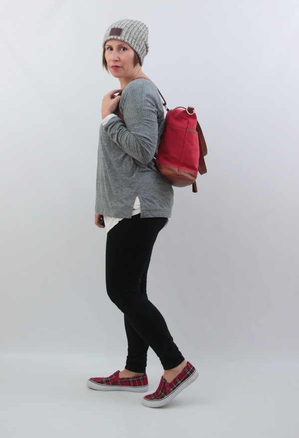 mom style beanie leggings plaid