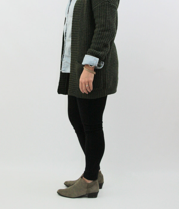 olive cardigan and leggings 1