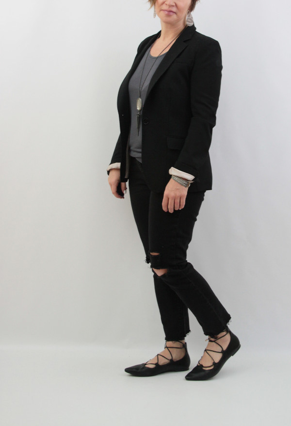 black blazer and black jeans nickel and suede earrings
