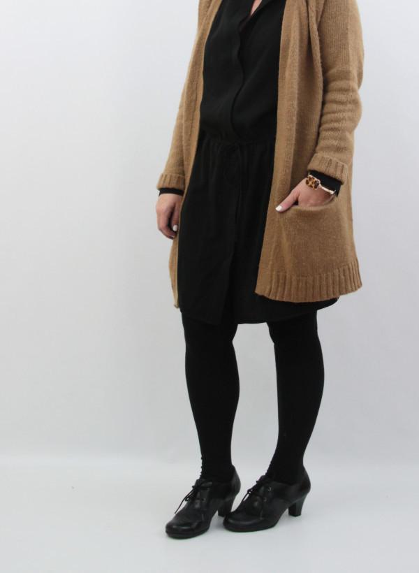 brass dress and cardigan 2