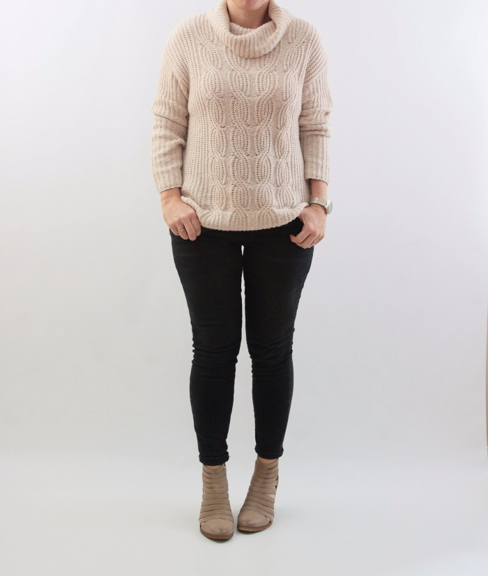 chunky turtleneck sweater and booties
