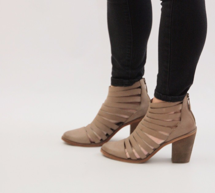hinge strappy booties