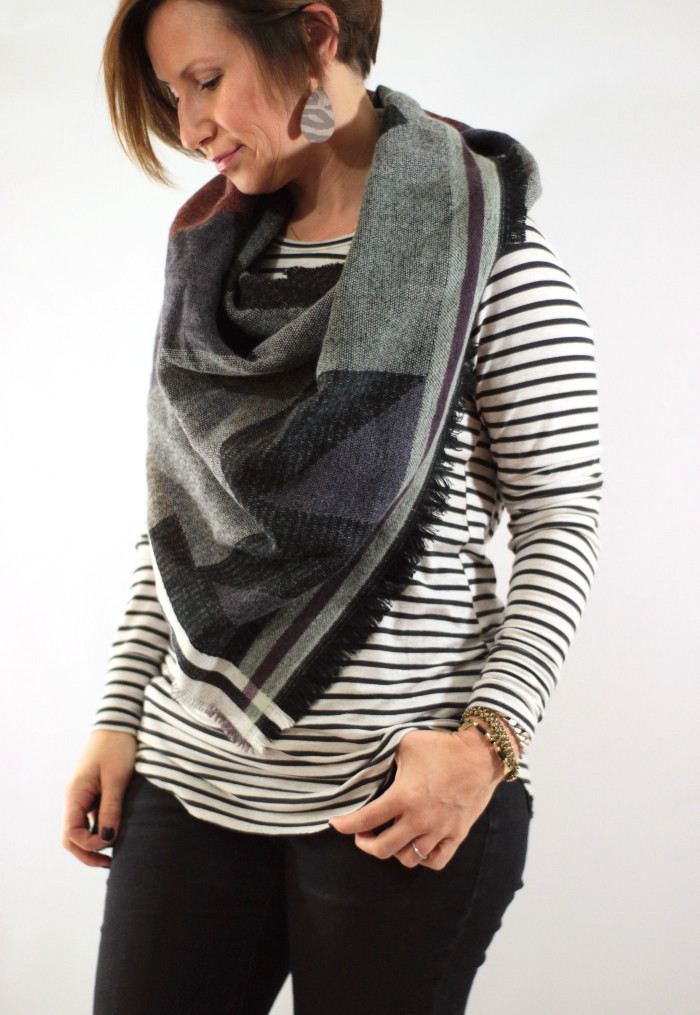 scarf and nickel and suede