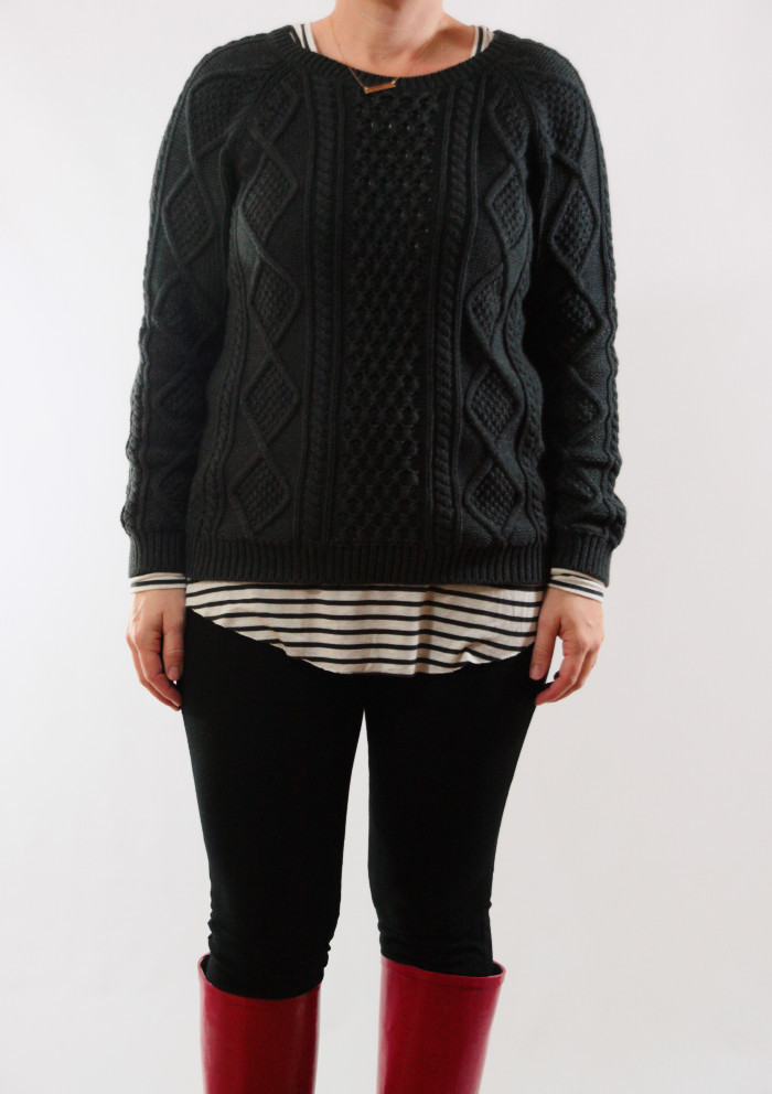 striped layer under sweater