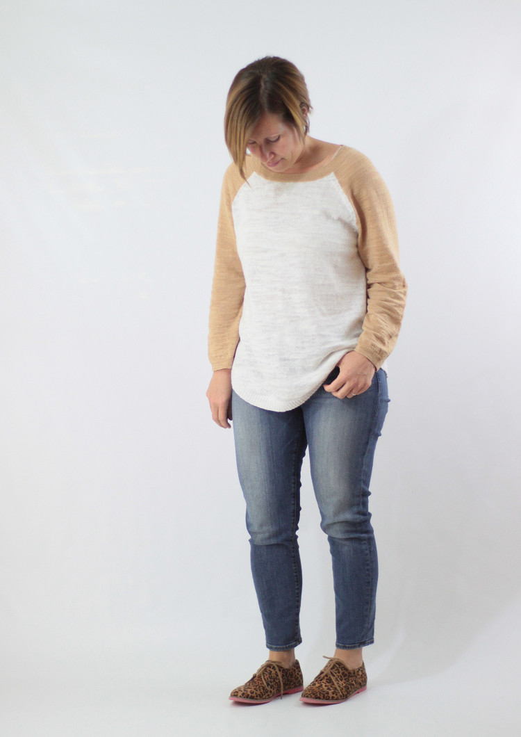 baseball sweater and jeans
