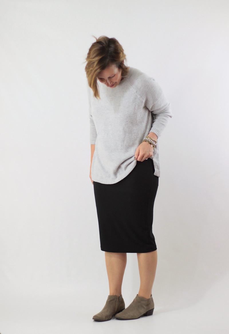 midi skirt and sweater 1