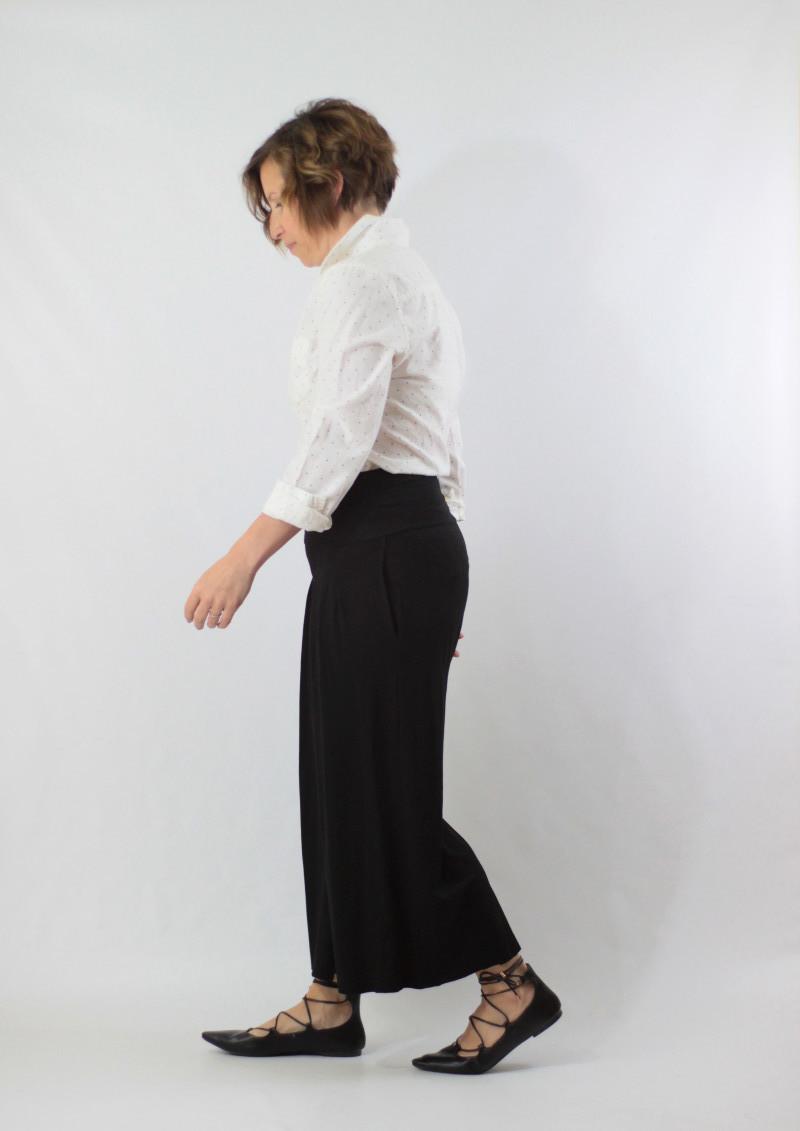 wide leg pants and dot shirt 1