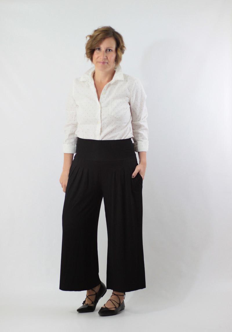 wide leg pants and dot shirt 2