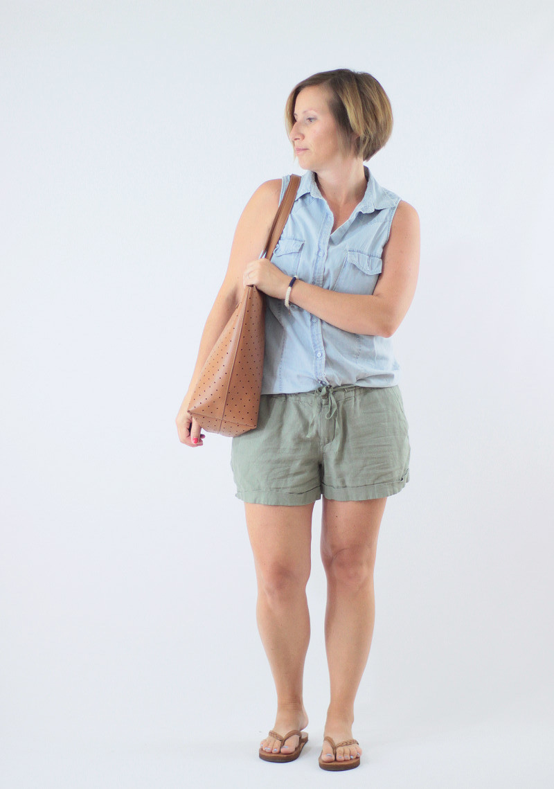 muted green old navy linen shorts and sleeveless chambray
