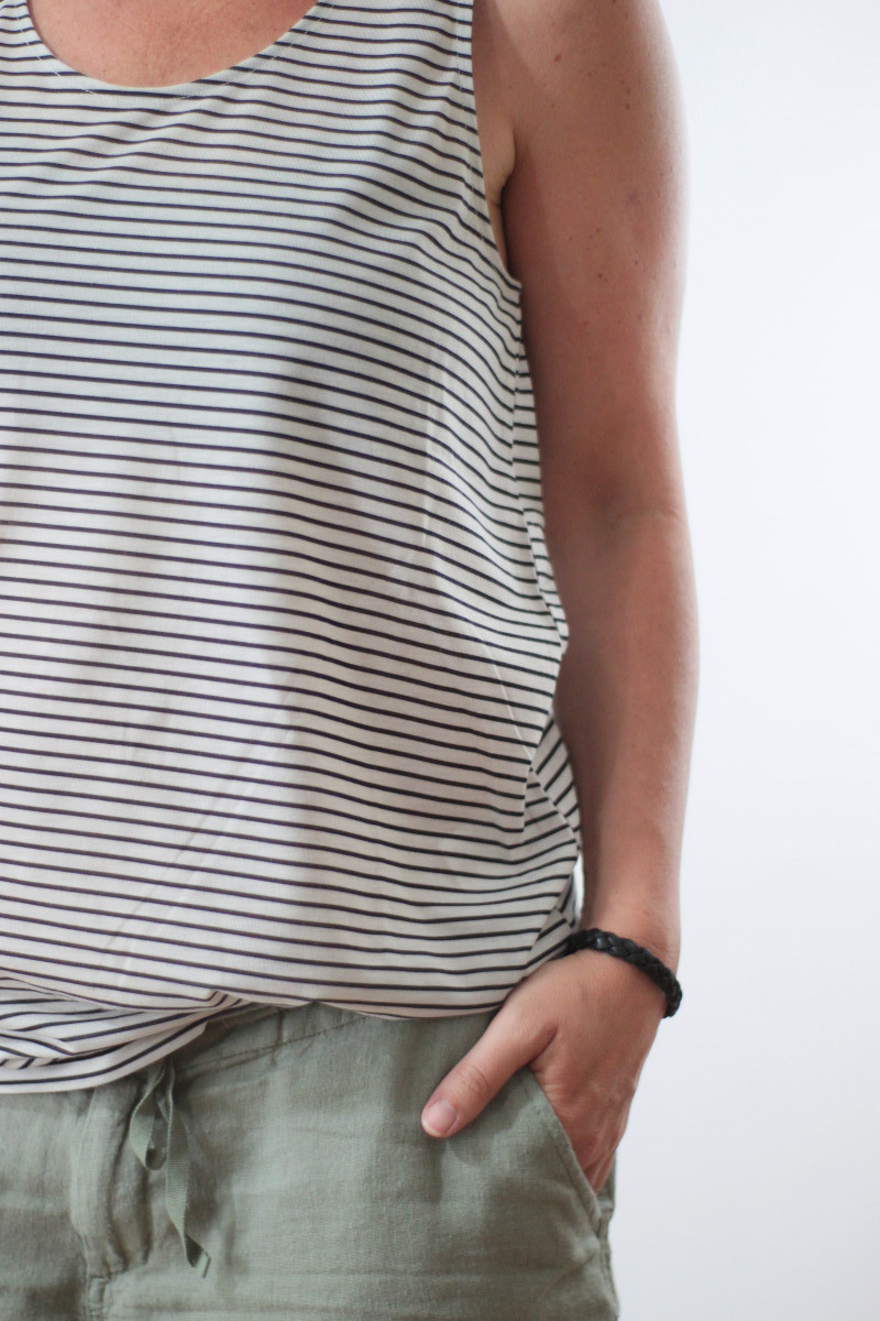linen shorts and striped tank 1