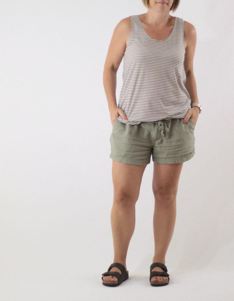 linen shorts + tank