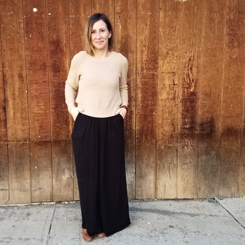 brass tank maxi dress and cropped crew sweater
